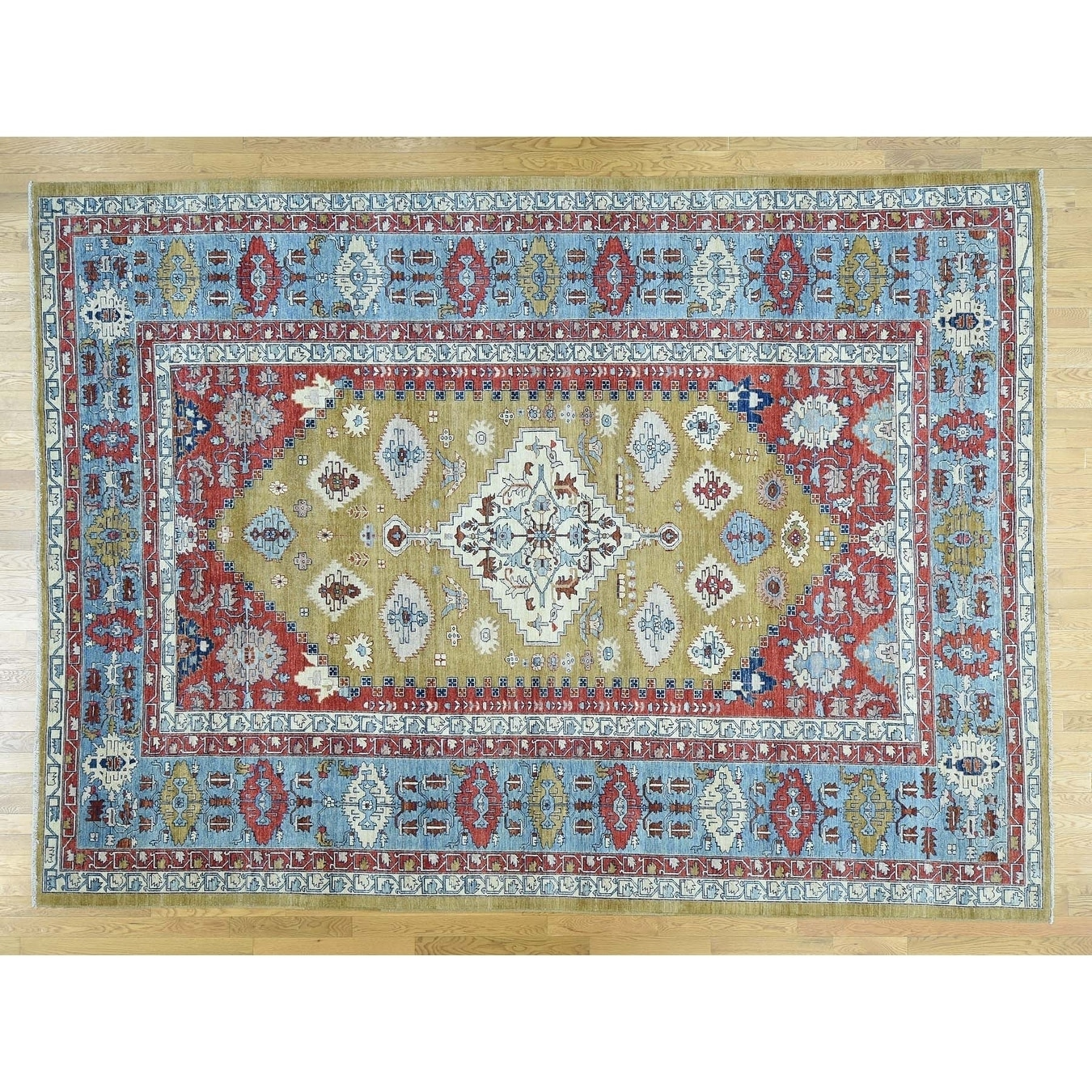Hand Knotted Green Heriz with Wool Oriental Rug - 910 x 136