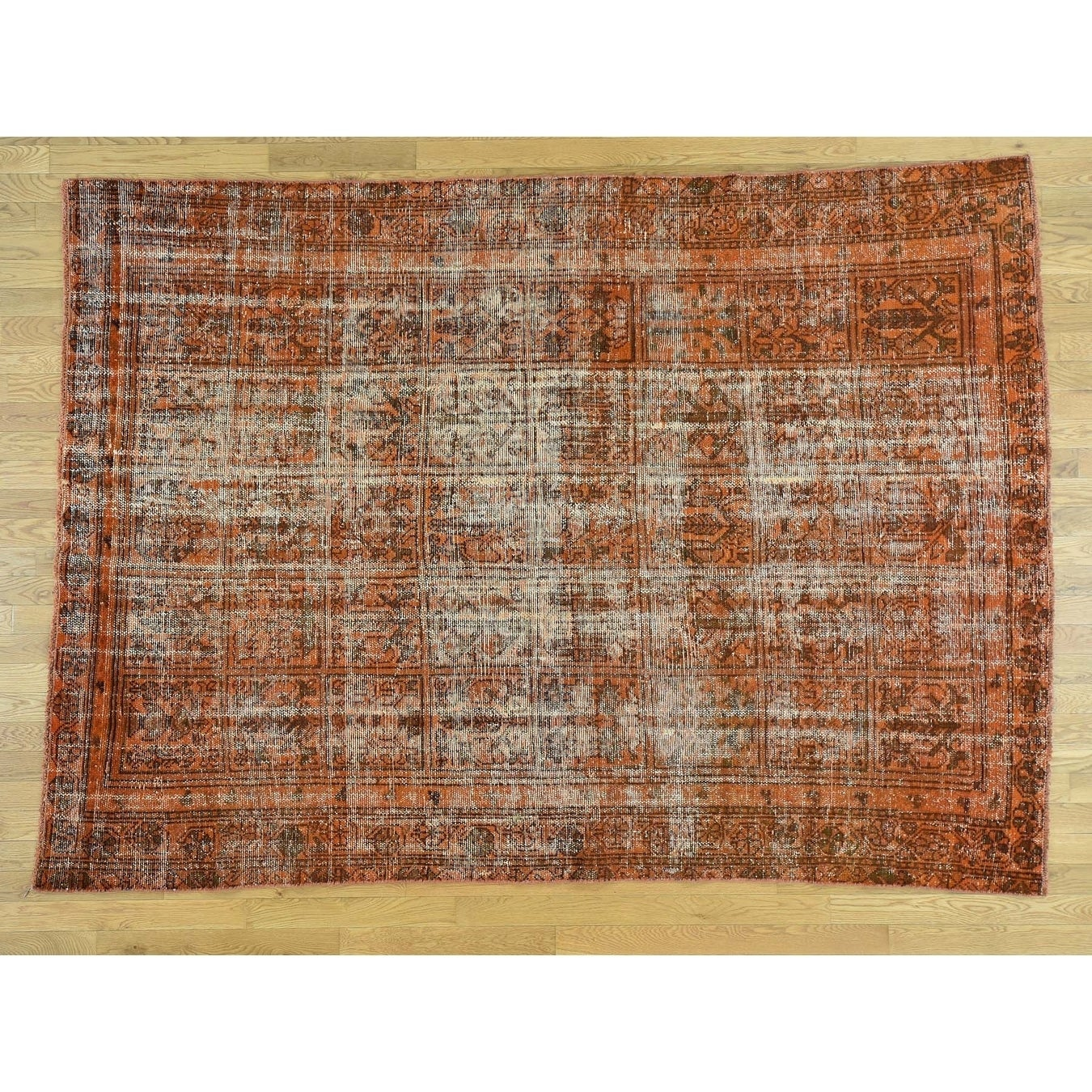 Hand Knotted Orange Overdyed & Vintage with Wool Oriental Rug - 68 x 91