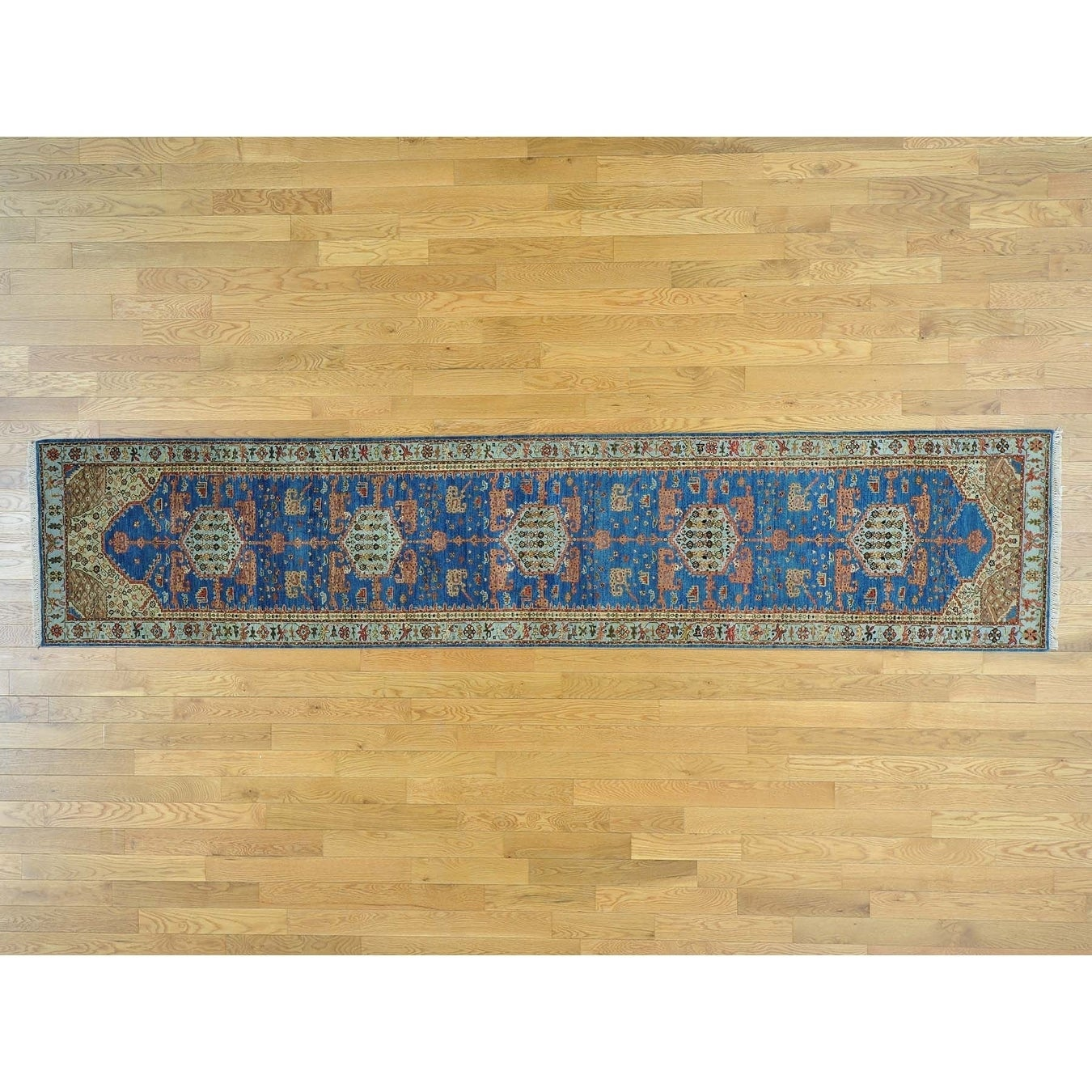 Hand Knotted Blue Heriz with Wool Oriental Rug