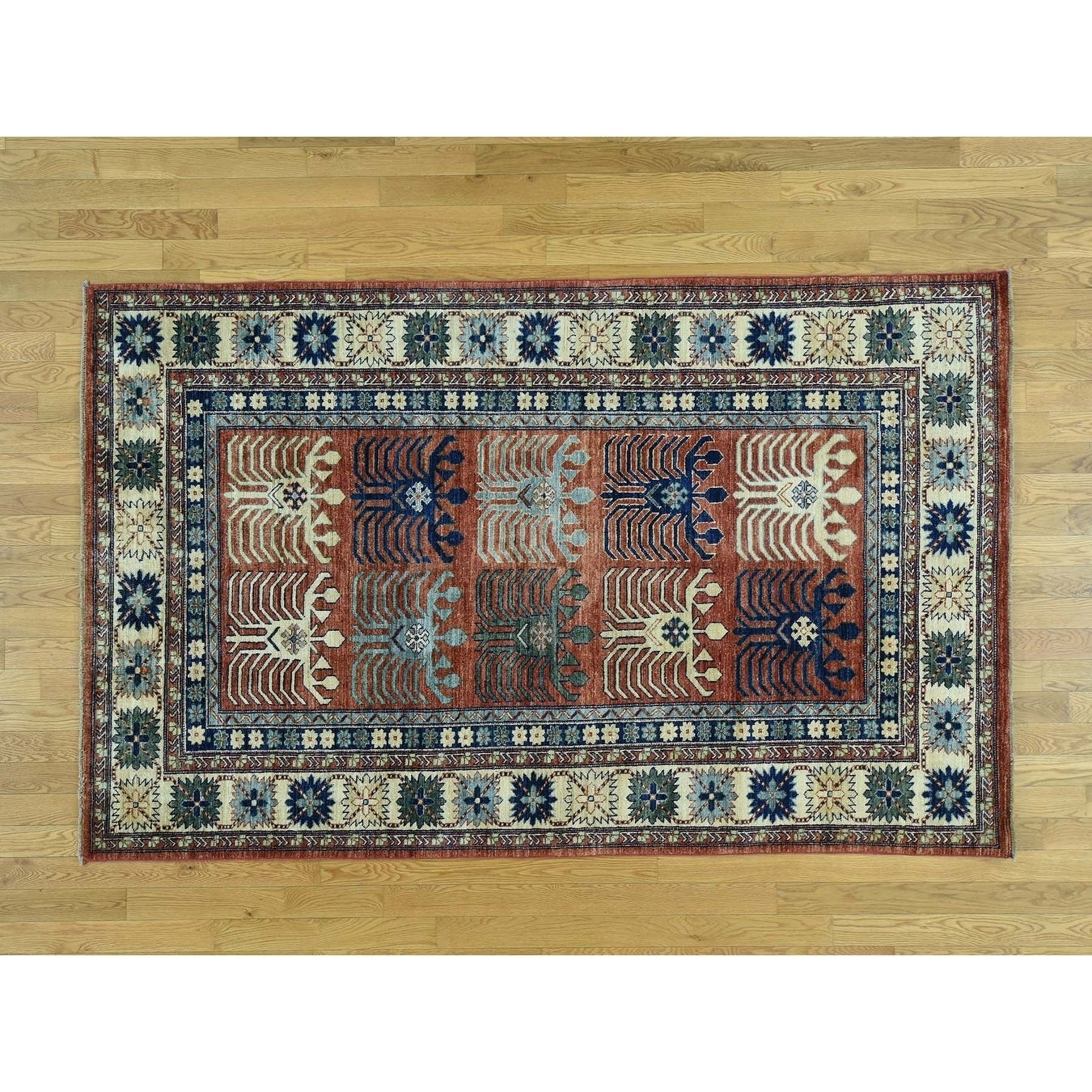 Hand Knotted Red Tribal & Geometric with Wool Oriental Rug - 51 x 82