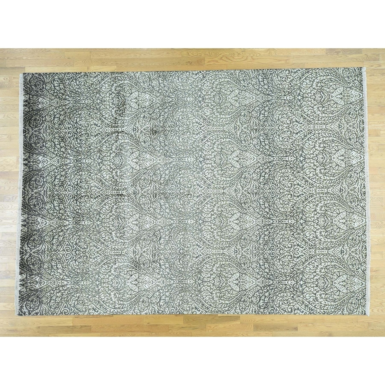Hand Knotted Brown Modern & Contemporary with Wool & Silk Oriental Rug - 88 x 123