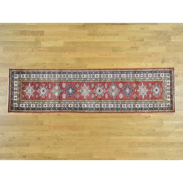 Hand Knotted Red Kazak with Wool Oriental Rug - 2'6 x 9'6