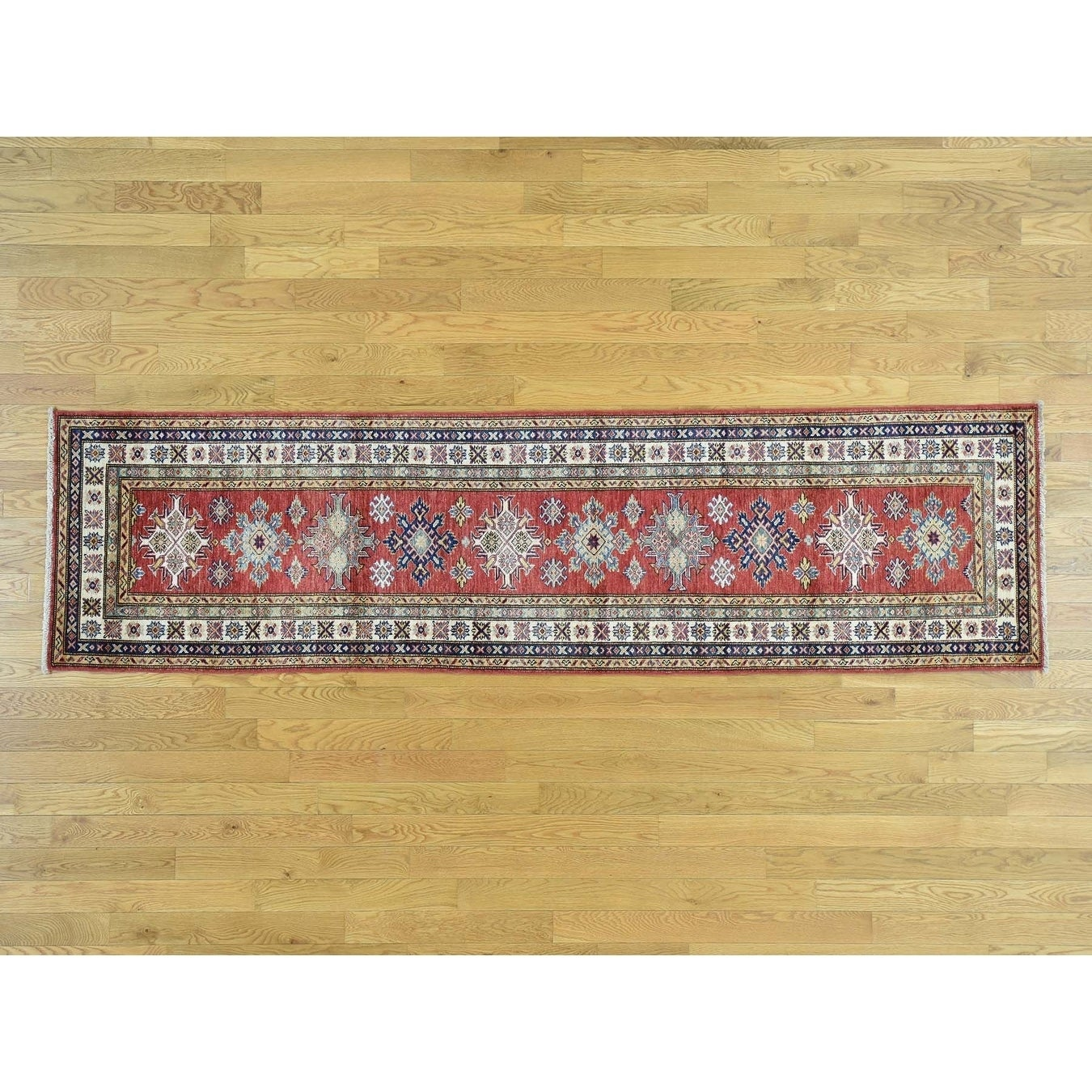 Hand Knotted Red Kazak with Wool Oriental Rug - 26 x 96