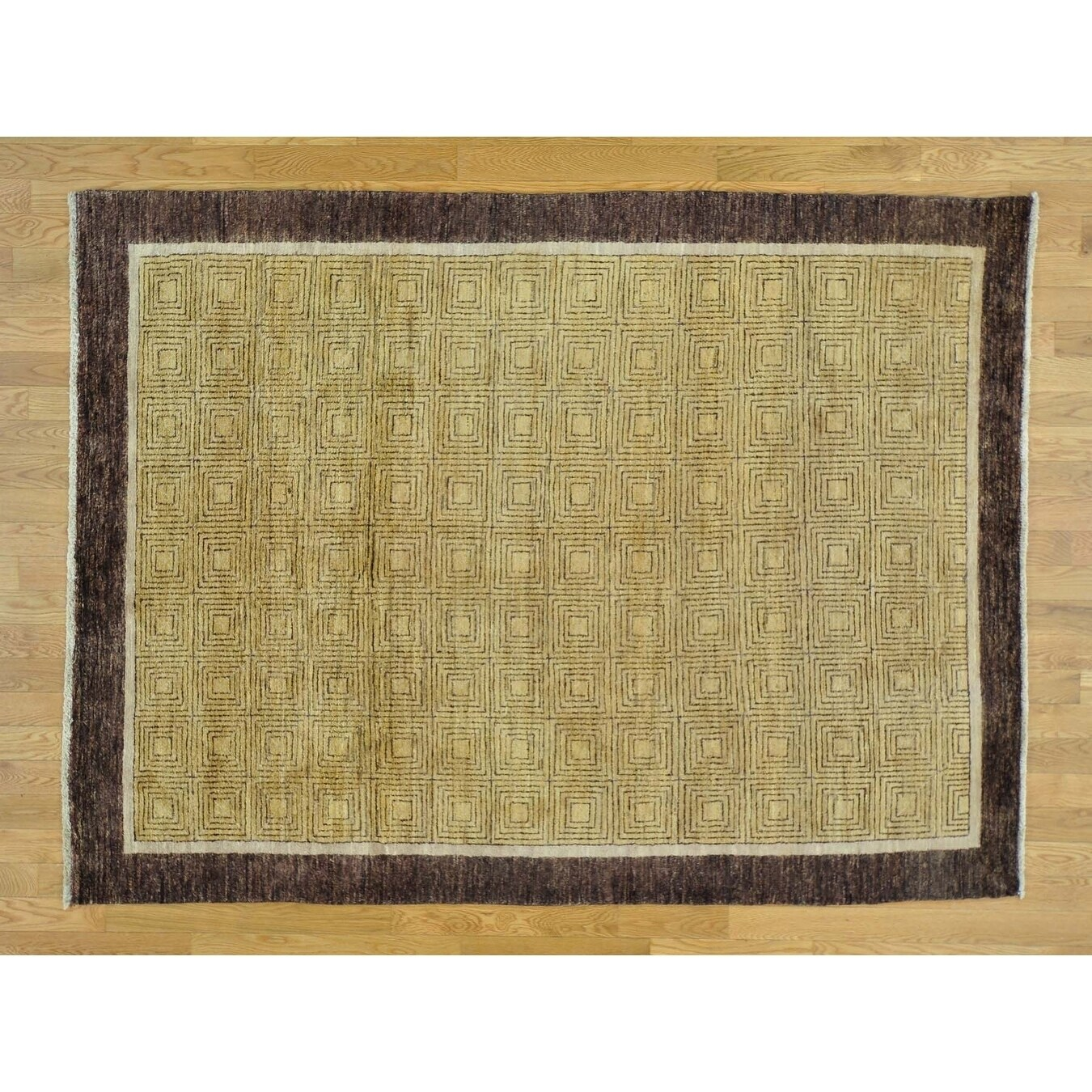 Hand Knotted Yellow Modern & Contemporary with Wool Oriental Rug - 56 x 75