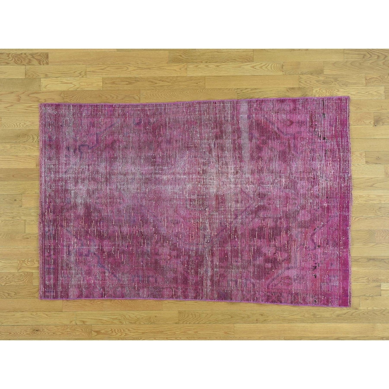 Hand Knotted Pink Overdyed & Vintage with Wool Oriental Rug - 41 x 66