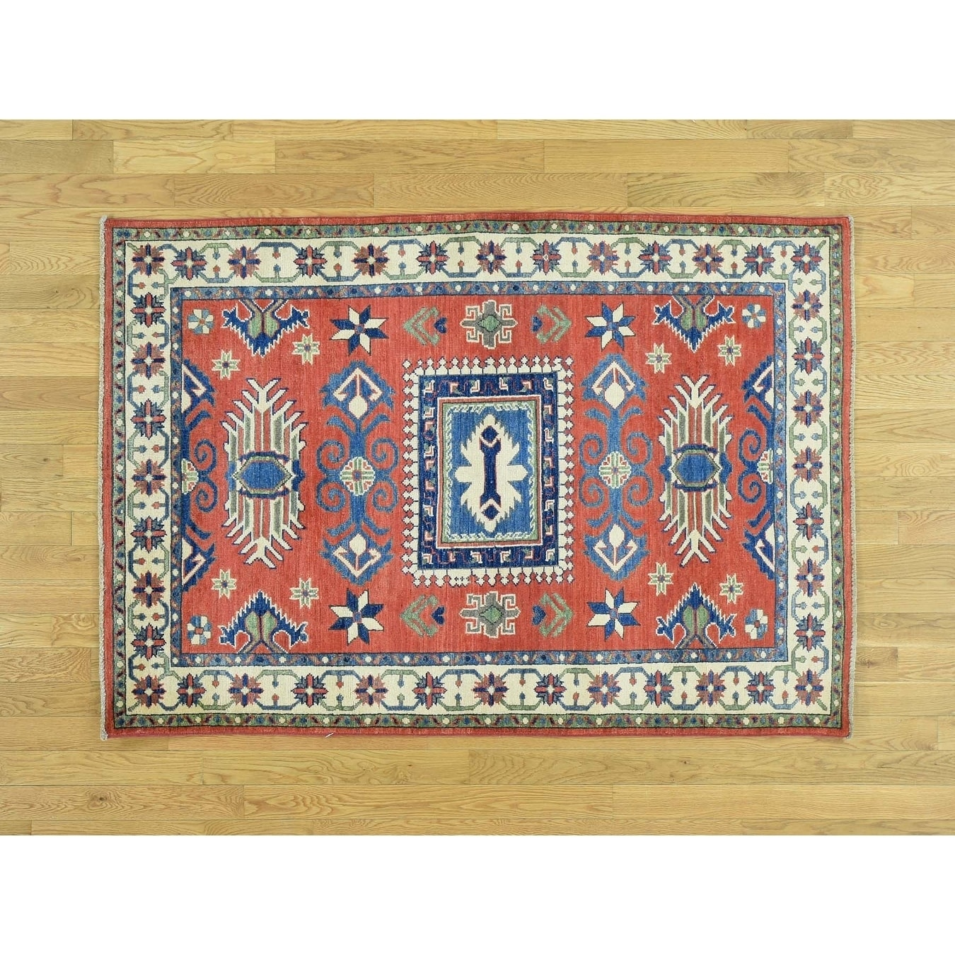 Hand Knotted Red Kazak with Wool Oriental Rug - 42 x 6