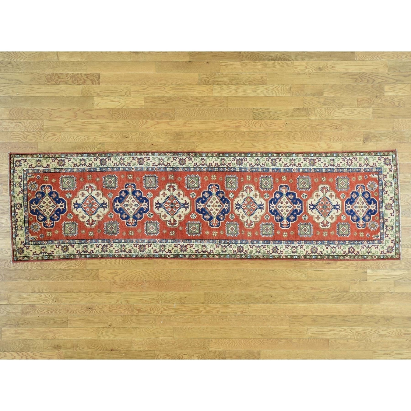 Hand Knotted Red Kazak with Wool Oriental Rug - 29 x 10