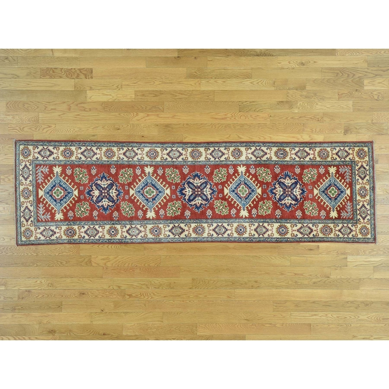 Hand Knotted Red Kazak with Wool Oriental Rug - 29 x 98