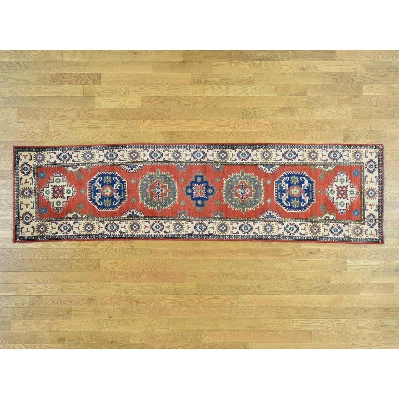 Hand Knotted Red Kazak with Wool Oriental Rug - 28 x 105