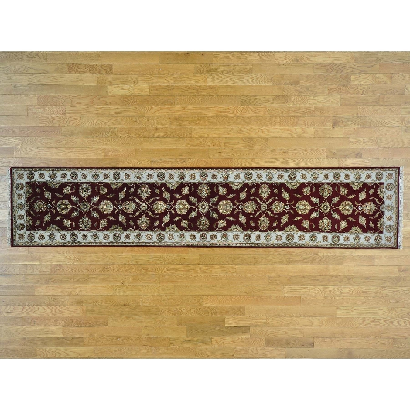 Hand Knotted Red Rajasthan with Wool & Silk Oriental Rug
