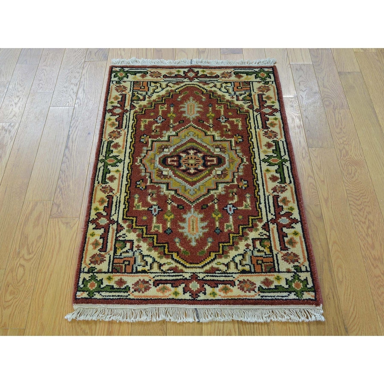 Hand Knotted Red Heriz with Wool Oriental Rug - 2 x 3