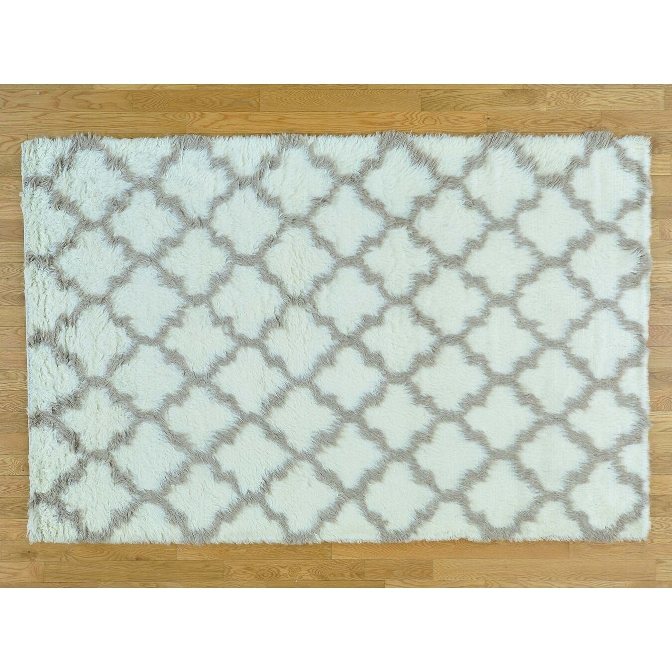 Hand Knotted Ivory Modern & Contemporary with Wool Oriental Rug - 51 x 710