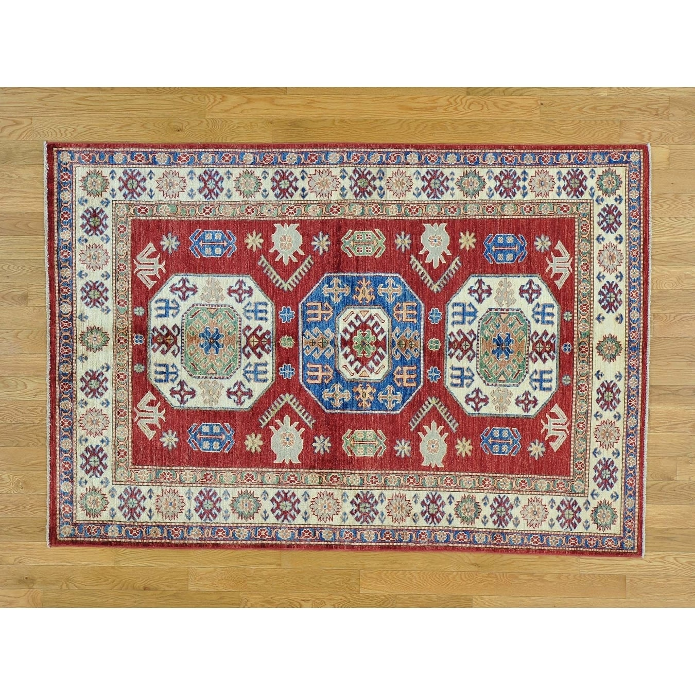 Hand Knotted Red Kazak with Wool Oriental Rug - 48 x 7