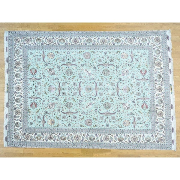 Hand Knotted Green Persian with Wool Oriental Rug - 9'9 x 13'7