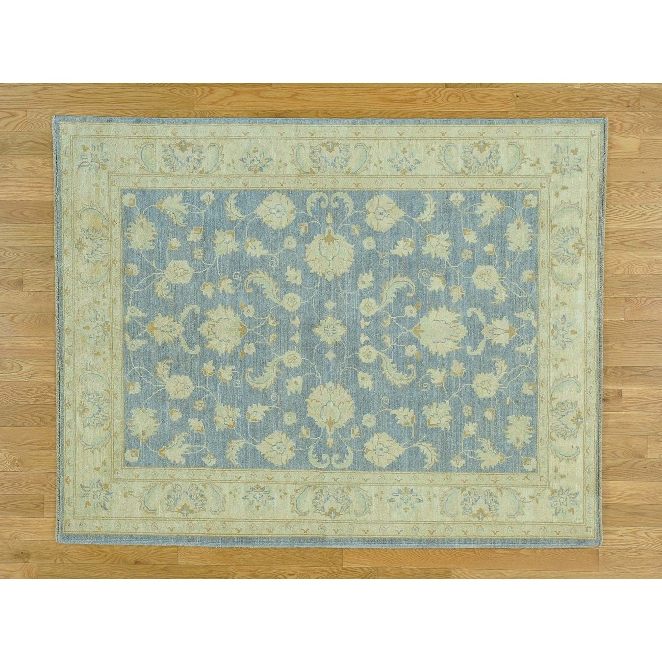 Hand Knotted Grey Oushak And Peshawar with Wool Oriental Rug - 51 x 65