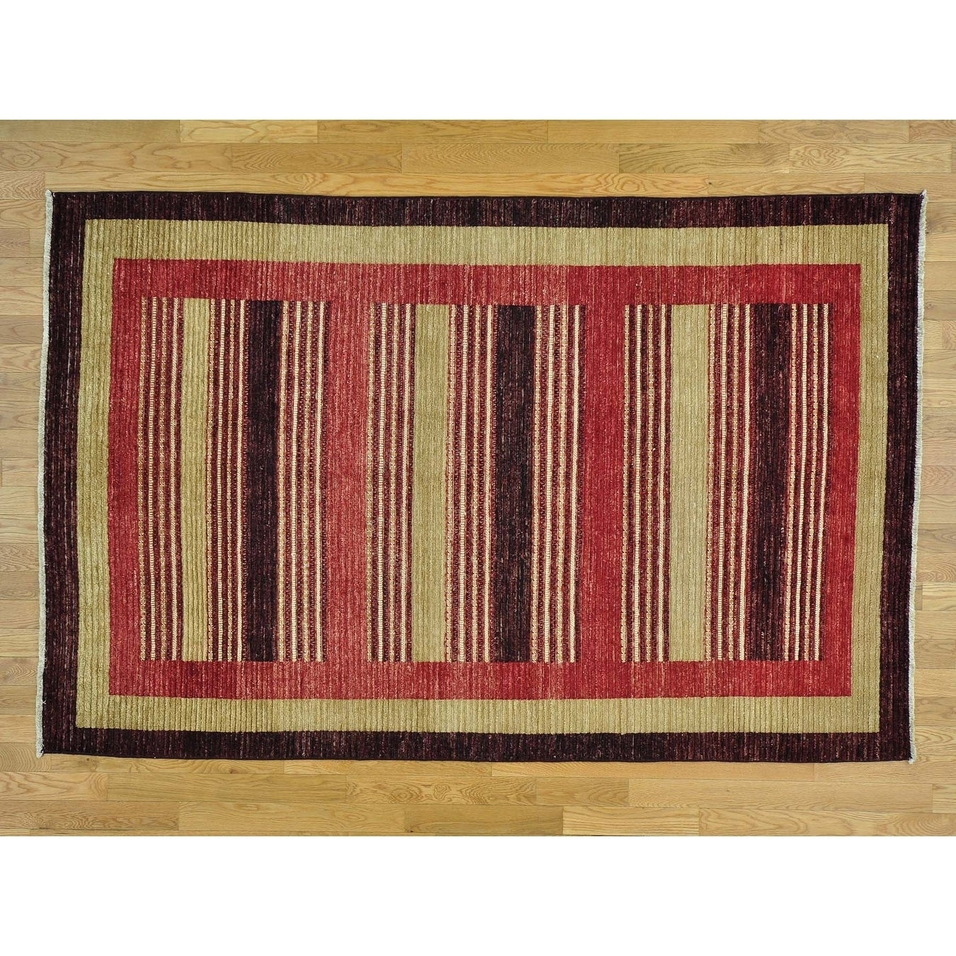 Hand Knotted Multicolored Modern & Contemporary with Wool Oriental Rug - 54 x 81
