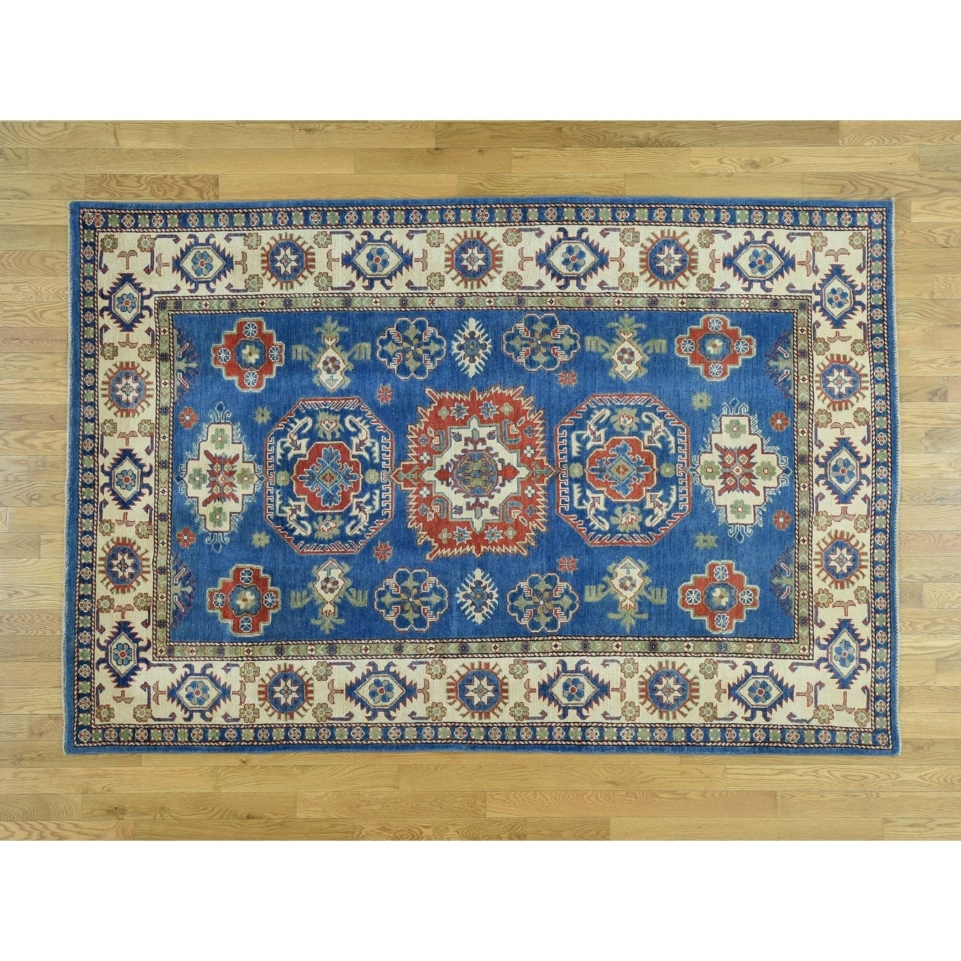 Hand Knotted Blue Kazak with Wool Oriental Rug - 510 x 89