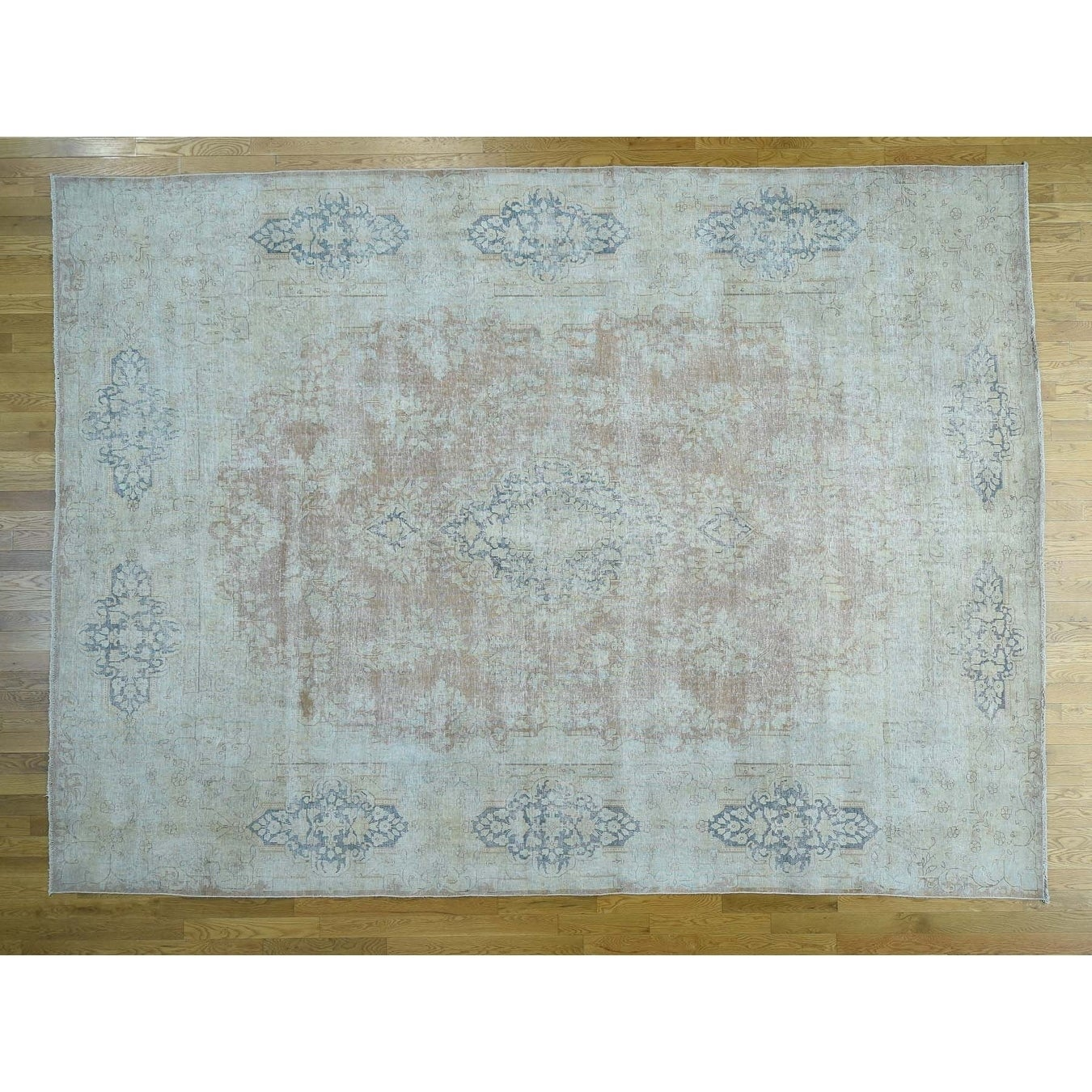 Hand Knotted Brown White Wash Vintage & Silver Wash with Wool Oriental Rug - 10 x 134