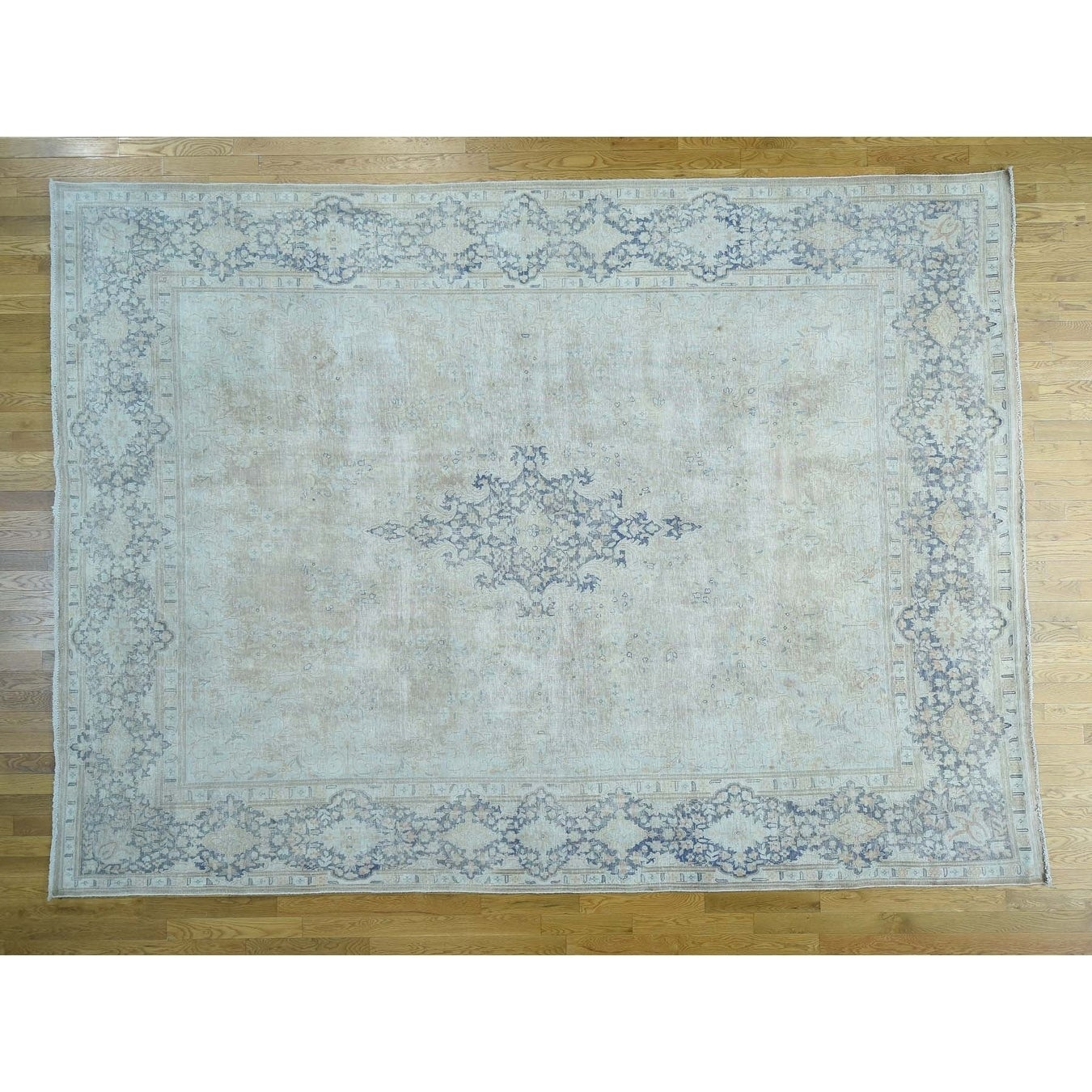 Hand Knotted Brown White Wash Vintage & Silver Wash with Wool Oriental Rug - 98 x 132