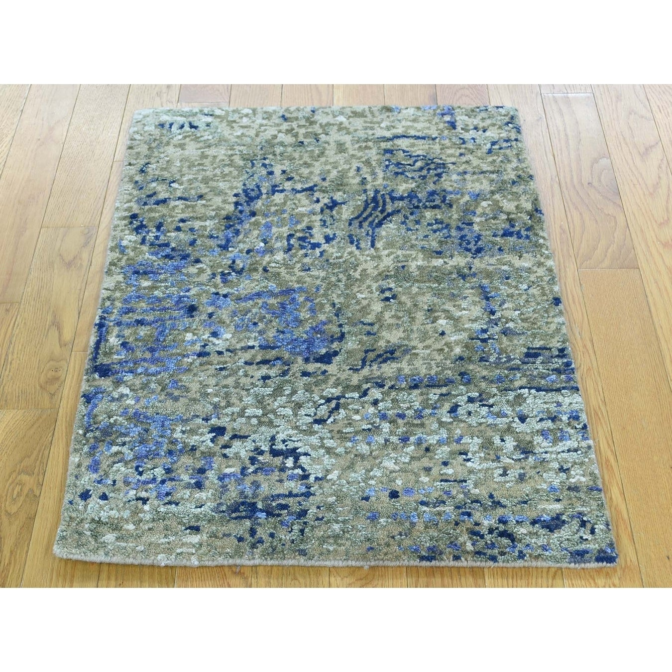 Hand Knotted Multicolored Modern & Contemporary with Wool & Silk Oriental Rug - 2 x 29