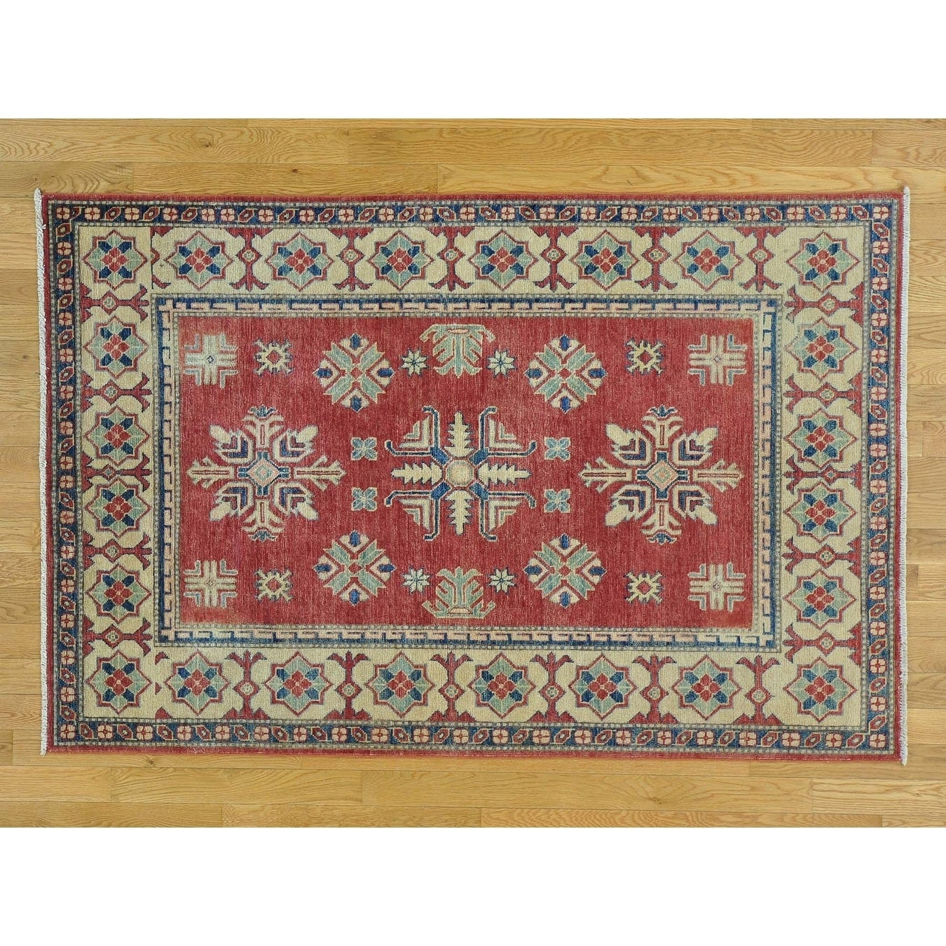 Hand Knotted Red Kazak with Wool Oriental Rug - 43 X 66