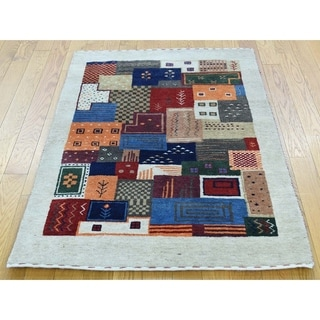 Hand Knotted Multicolored Modern & Contemporary with Wool Oriental Rug - 2'10 x 4'3