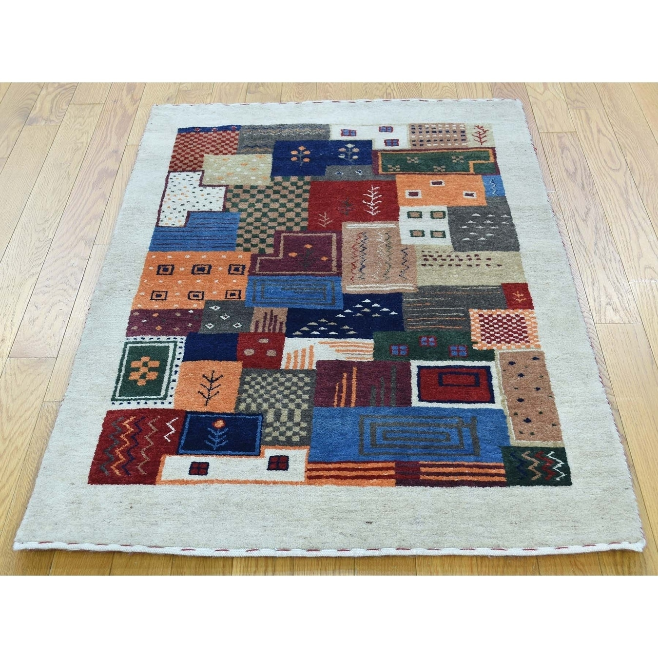 Hand Knotted Multicolored Modern & Contemporary with Wool Oriental Rug - 210 x 43
