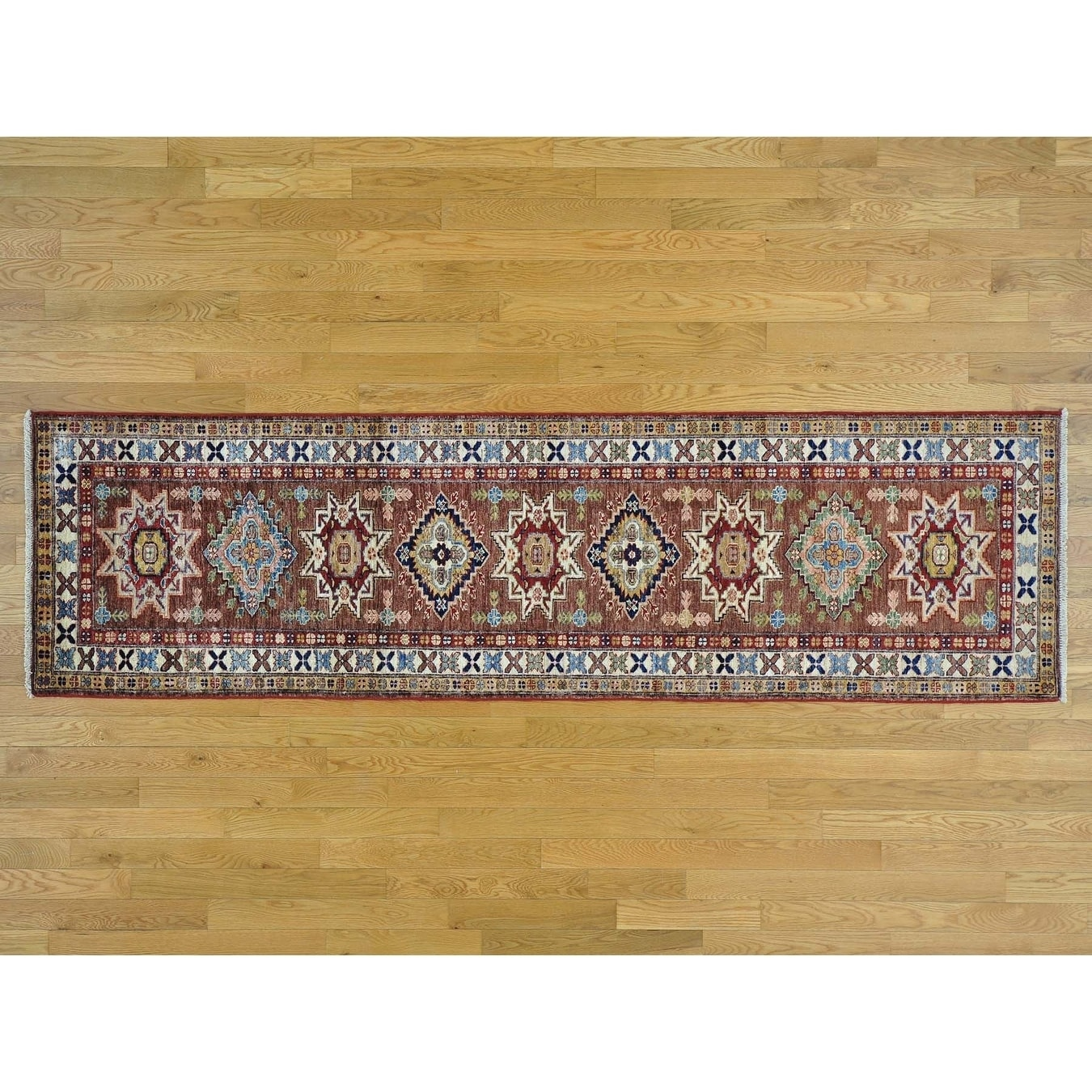 Hand Knotted Brown Kazak with Wool Oriental Rug - 26 x 91