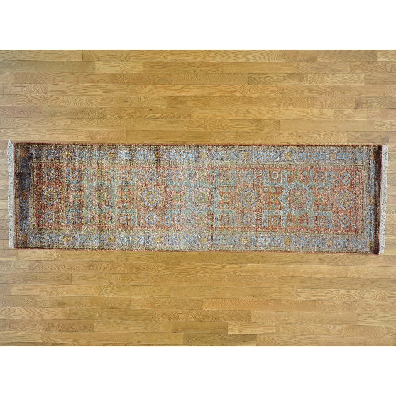 Hand Knotted Red Mamluk with Art Silk Oriental Rug