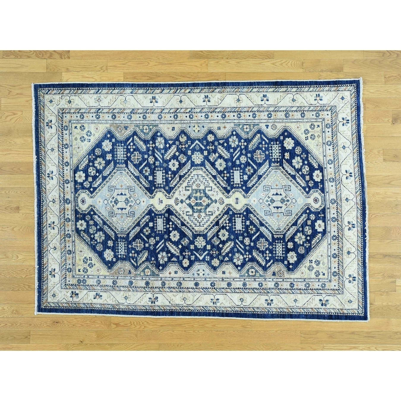 Hand Knotted Blue Kazak with Wool Oriental Rug - 5 x 610