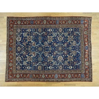 Hand Knotted Blue Antique with Wool Oriental Rug - 8'10 x 11'10