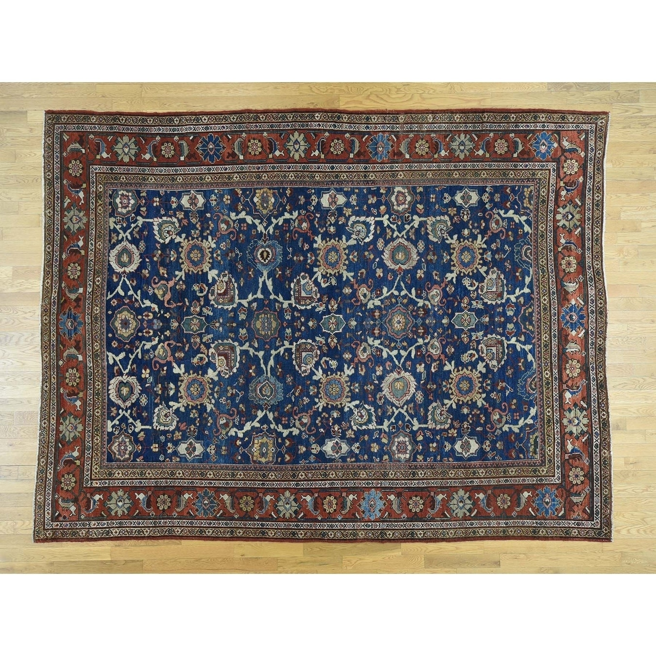 Hand Knotted Blue Antique with Wool Oriental Rug - 810 x 1110