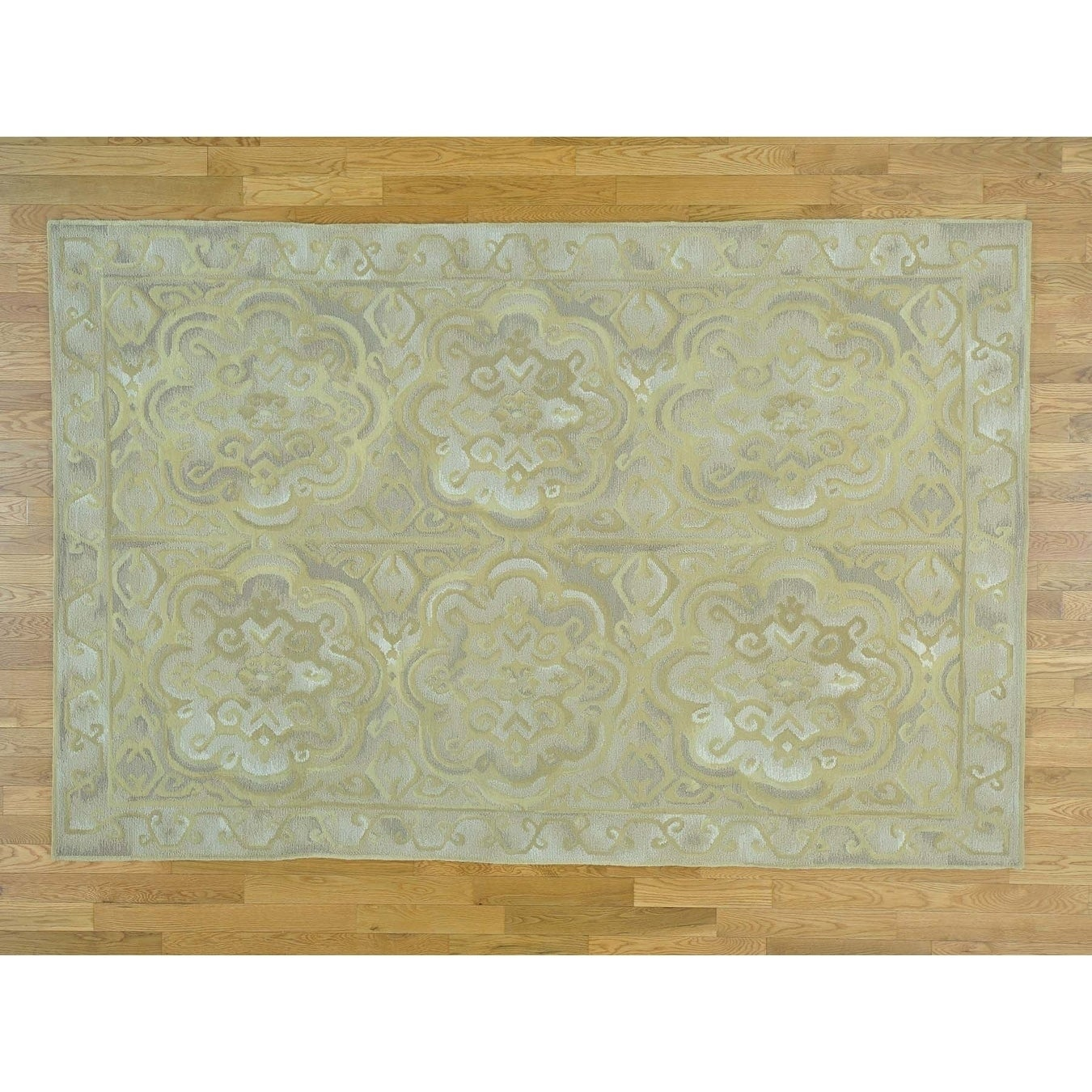 Hand Knotted Grey Clearance with Wool Oriental Rug - 6 x 91