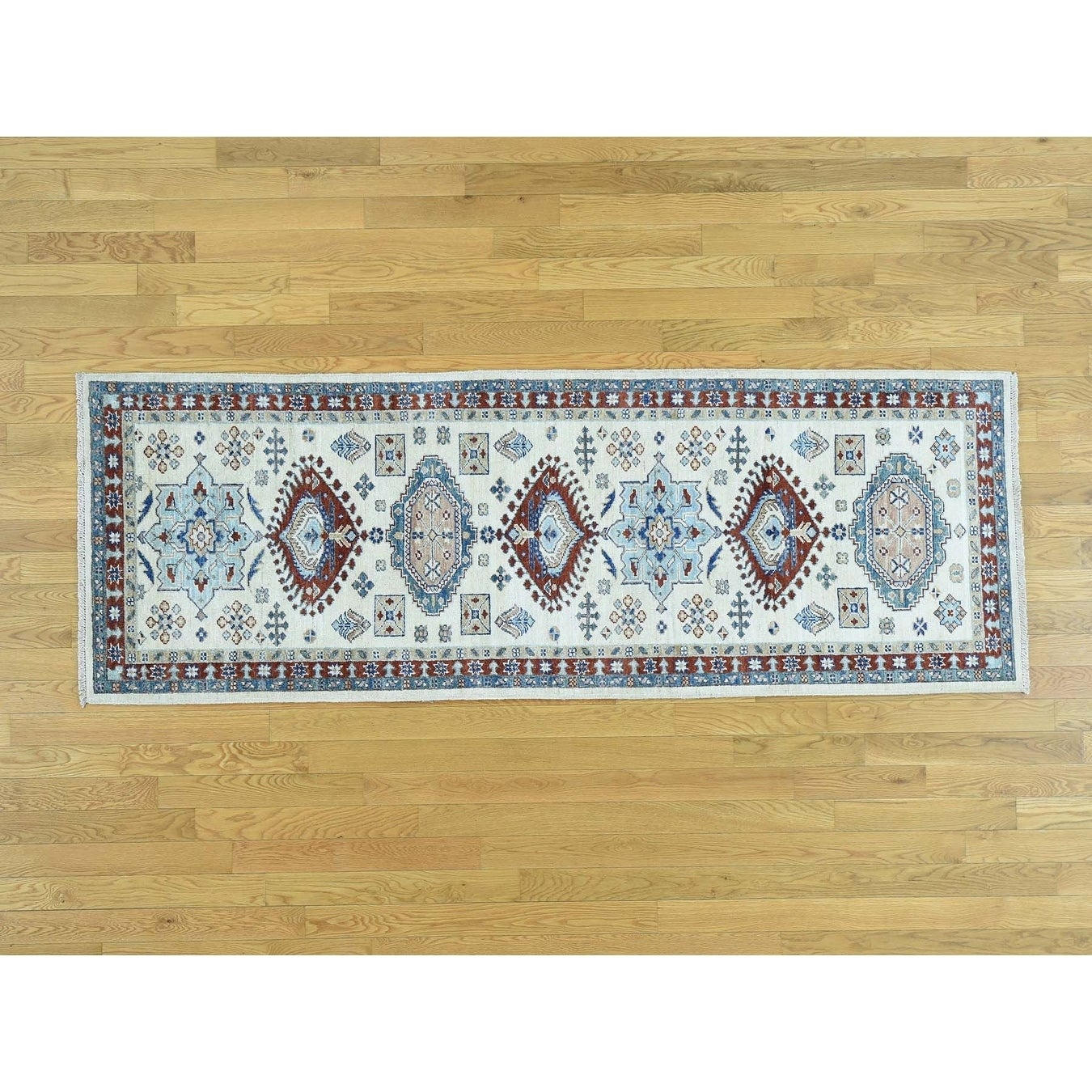 Hand Knotted Ivory Tribal & Geometric with Wool Oriental Rug - 29 x 8