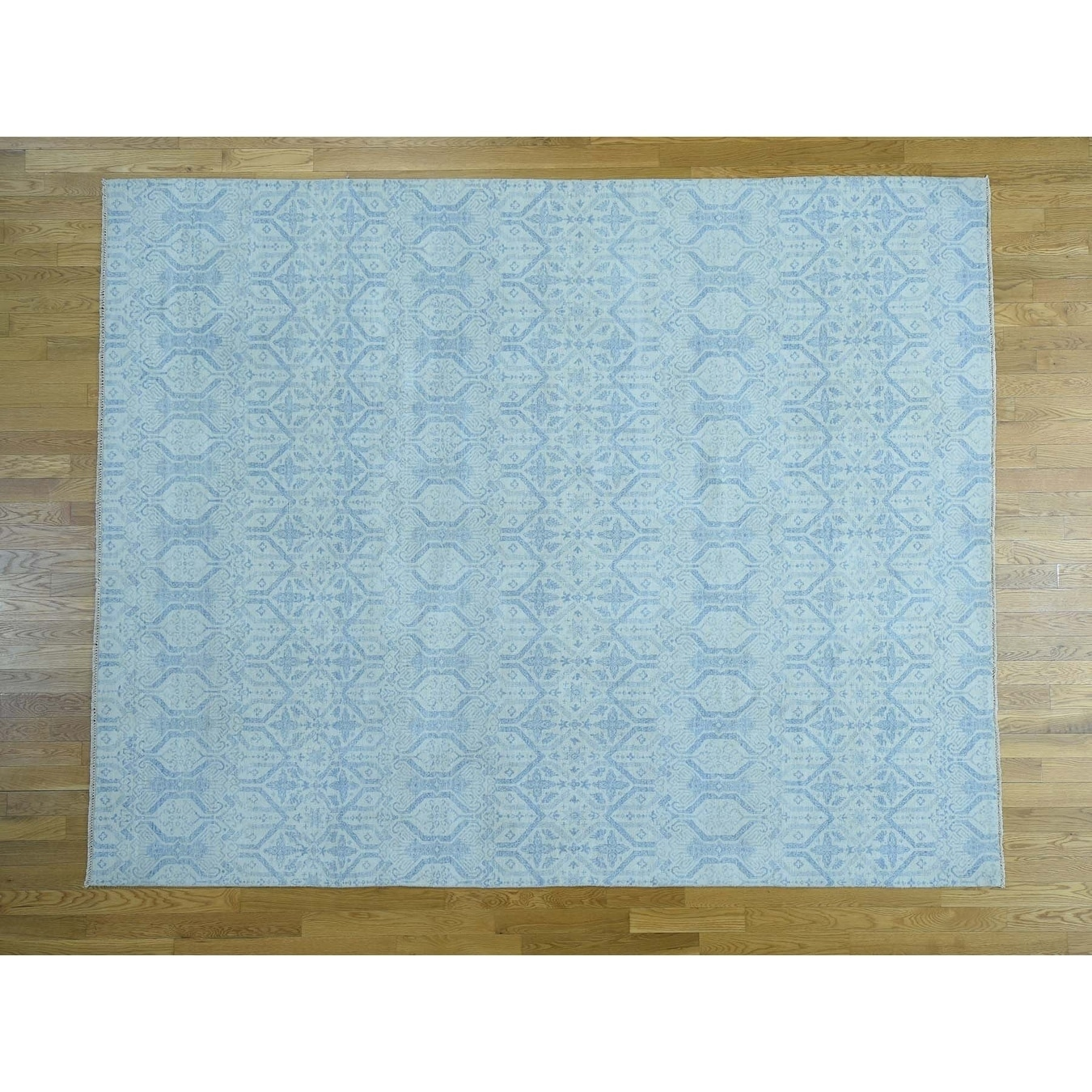 Hand Knotted Ivory Ikat And Suzani Design with Wool Oriental Rug - 81 x 102