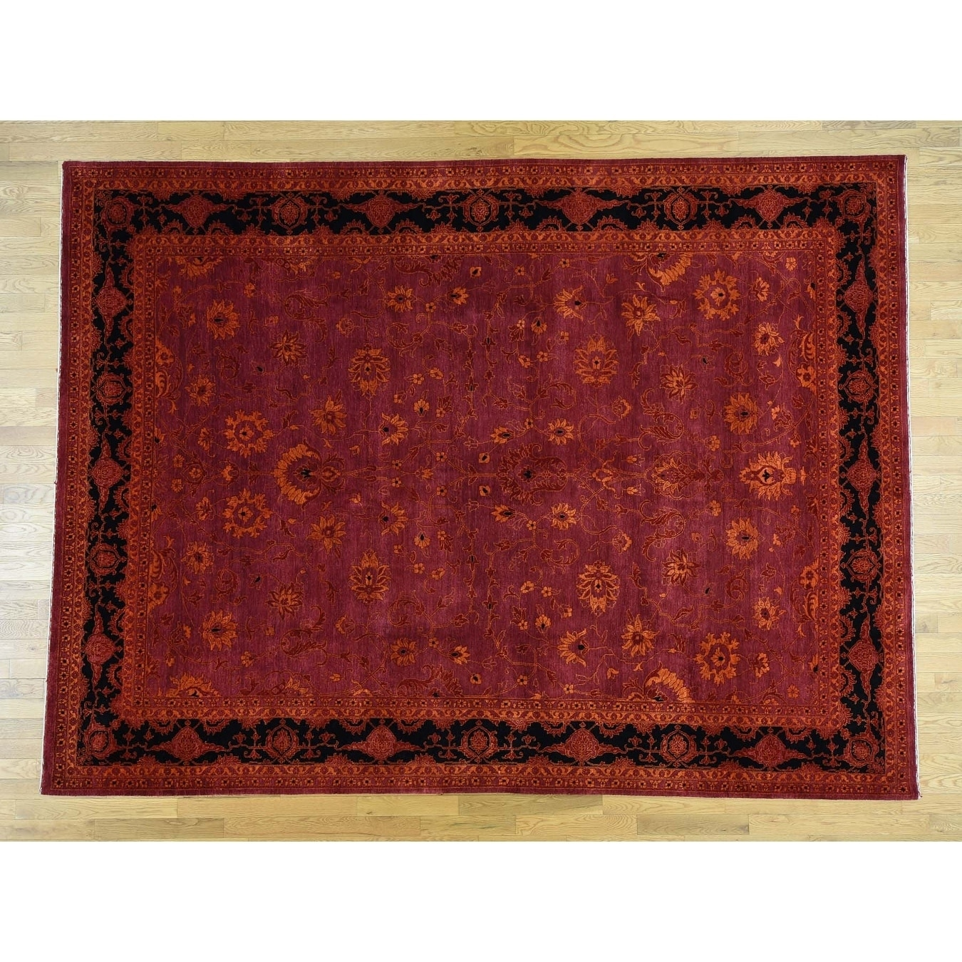 Hand Knotted Red Modern & Contemporary with Wool & Silk Oriental Rug - 9 x 12