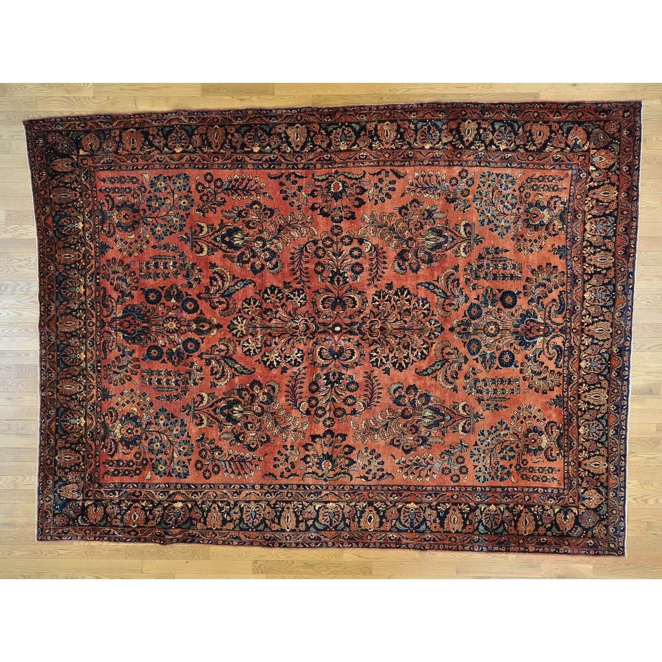 Hand Knotted Pink Antique with Wool Oriental Rug - 86 x 119