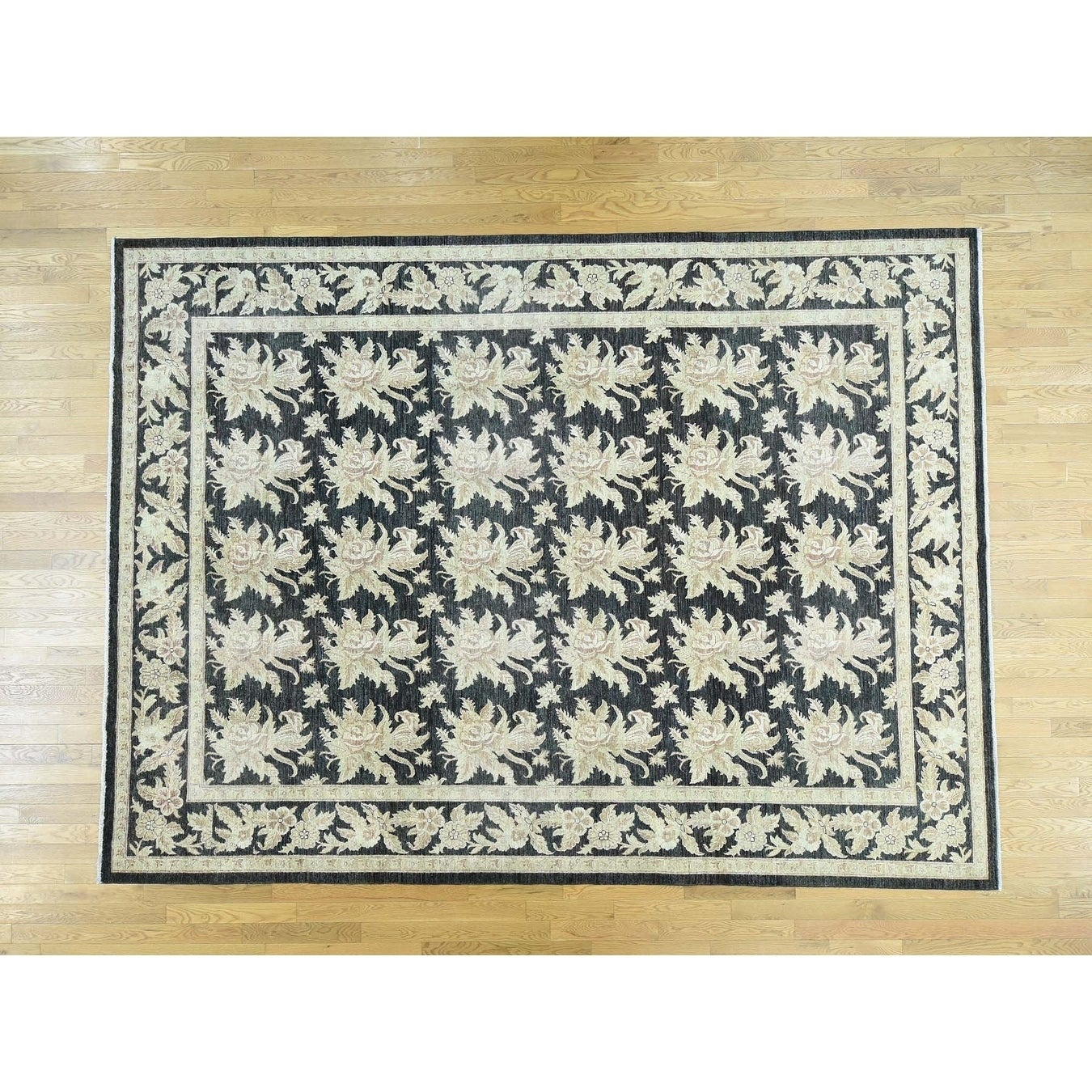 Hand Knotted Black Oushak And Peshawar with Wool Oriental Rug - 91 x 124