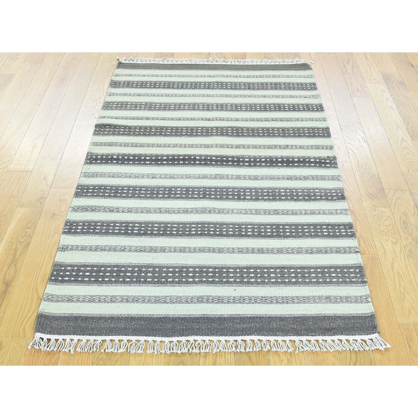 Hand Knotted Multicolored Flat Weave with Wool Oriental Rug - 210 x 410