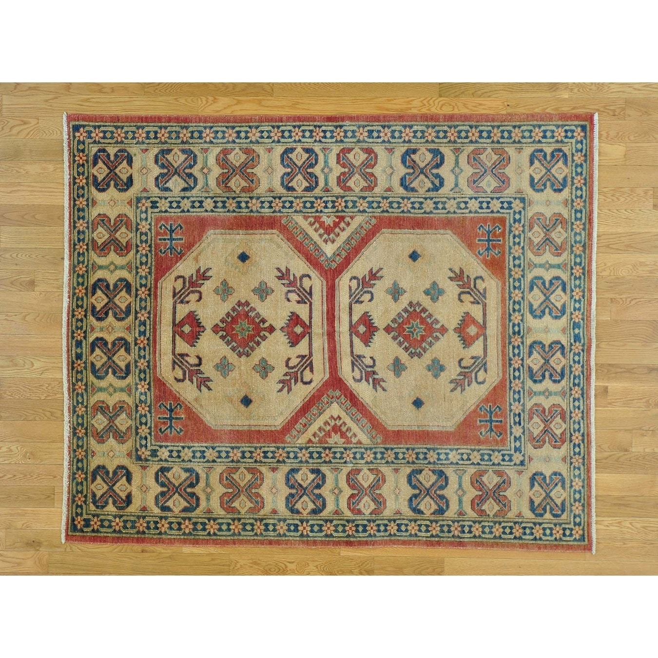 Hand Knotted Red Kazak with Wool Oriental Rug - 55 x 68