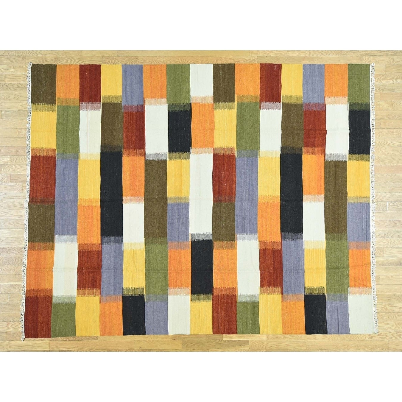 Hand Knotted Multicolored Flat Weave with Wool Oriental Rug - 81 x 104
