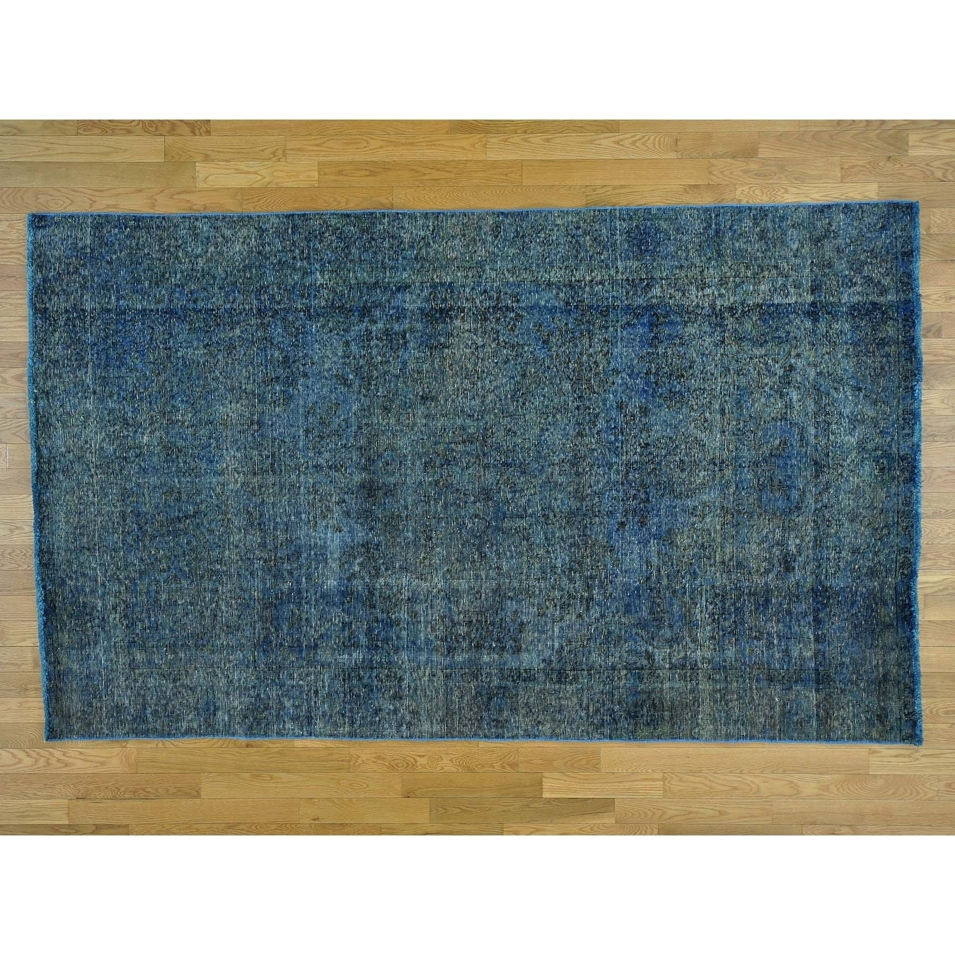 Hand Knotted Blue Overdyed & Vintage with Wool Oriental Rug - 57 x 93