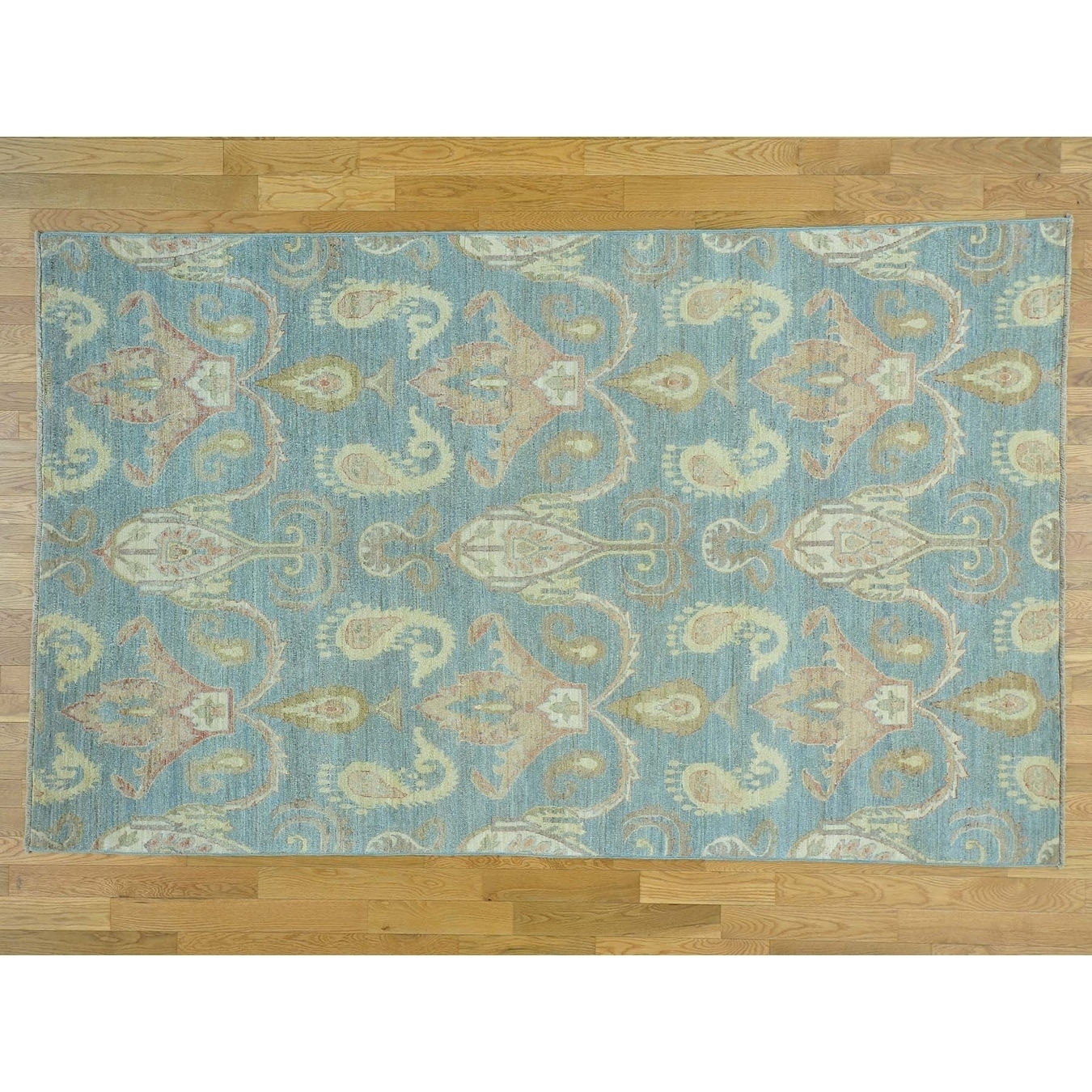 Hand Knotted Blue Ikat And Suzani Design with Wool Oriental Rug - 6 x 98