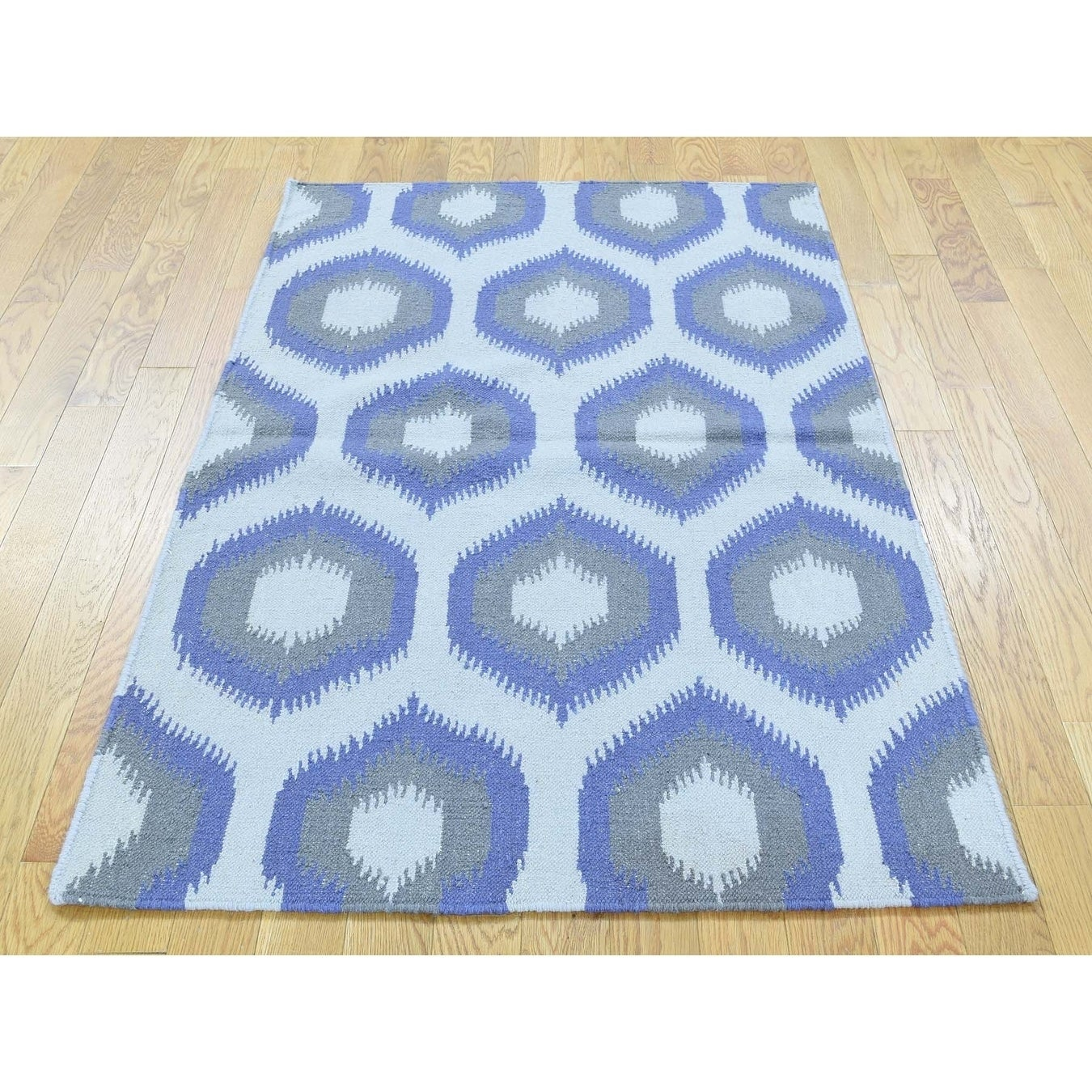 Hand Knotted Ivory Flat Weave with Wool Oriental Rug - 3 x 52
