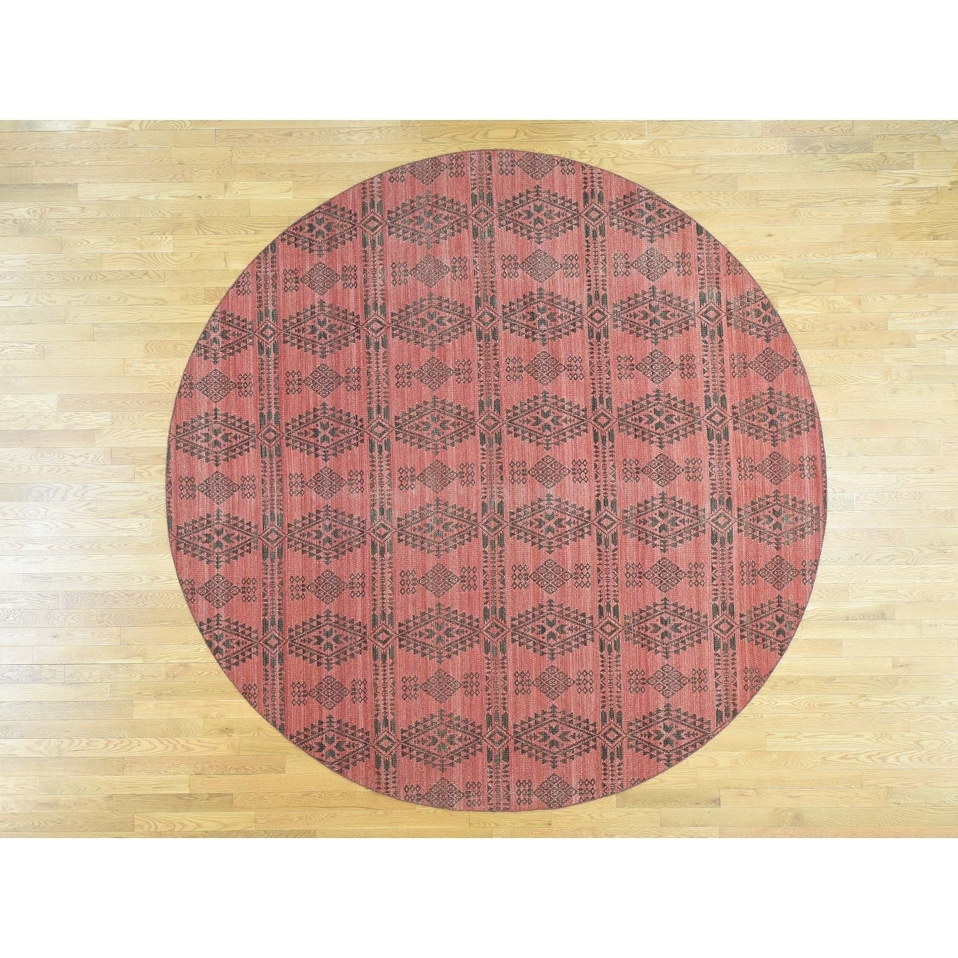 Hand Knotted Pink Flat Weave with Wool Oriental Rug - 10 x 10