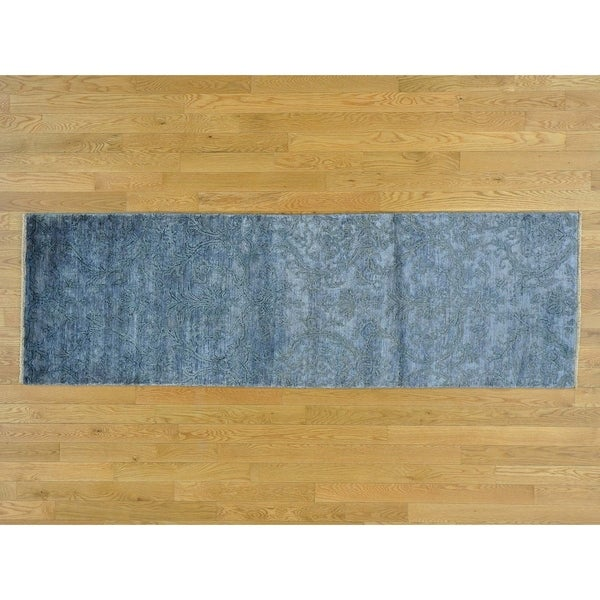 Hand Knotted Blue Modern & Contemporary with Wool & Silk Oriental Rug - 2'6 x 7'8