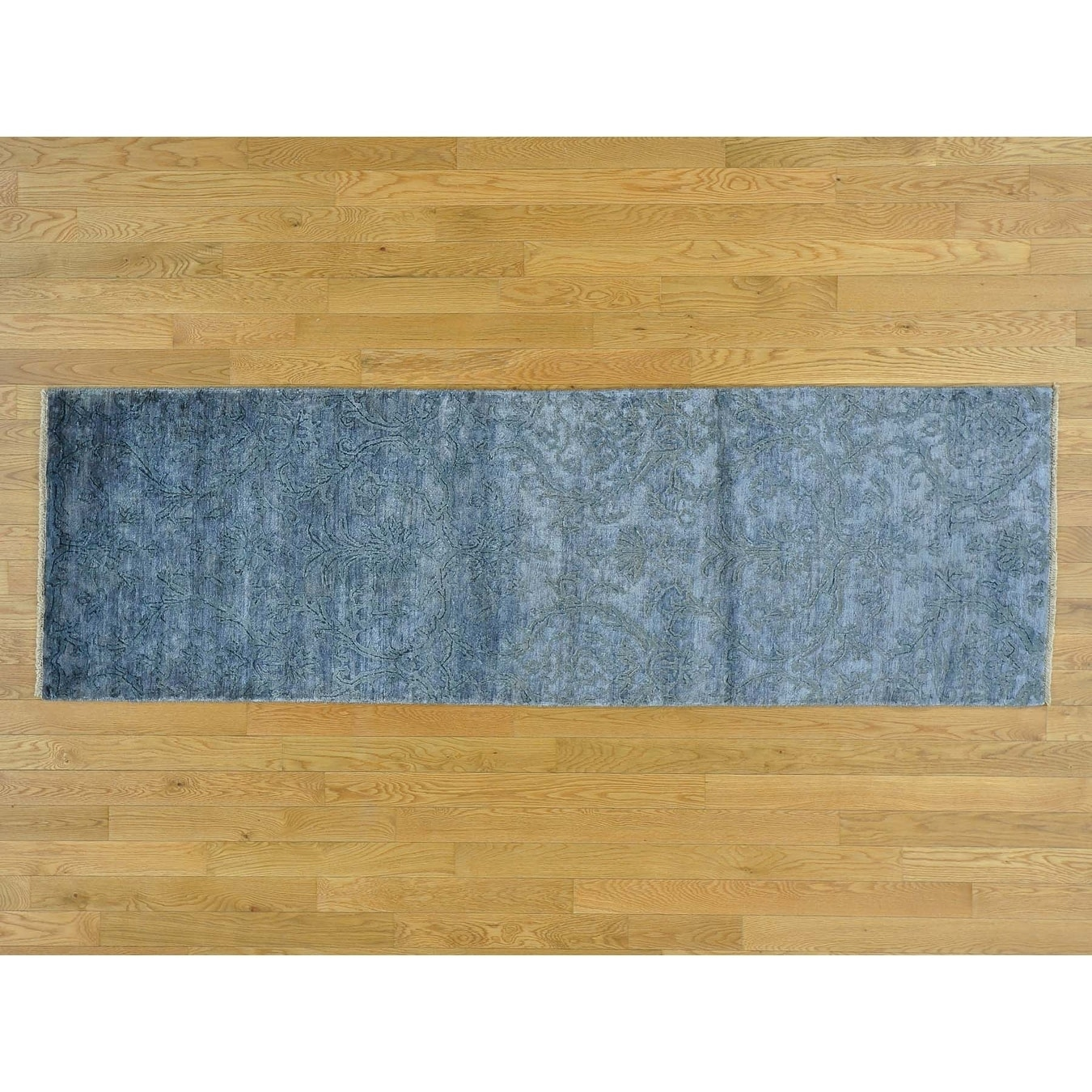 Hand Knotted Blue Modern & Contemporary with Wool & Silk Oriental Rug - 26 x 78