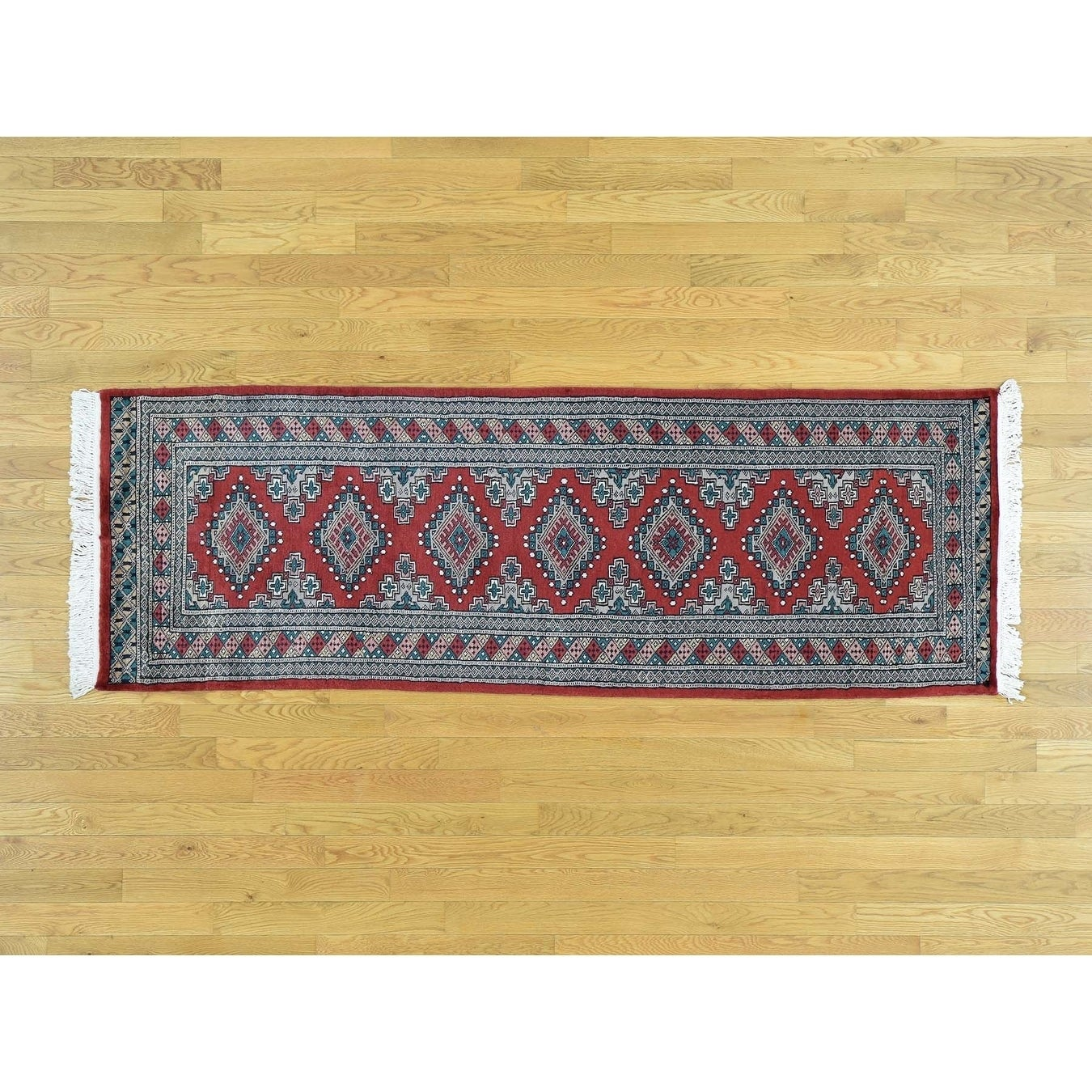 Hand Knotted Red Clearance with Wool Oriental Rug - 27 x 77