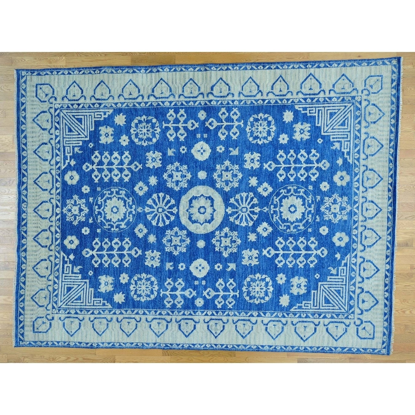 Hand Knotted Blue Khotan and Samarkand with Wool Oriental Rug - 91 x 12
