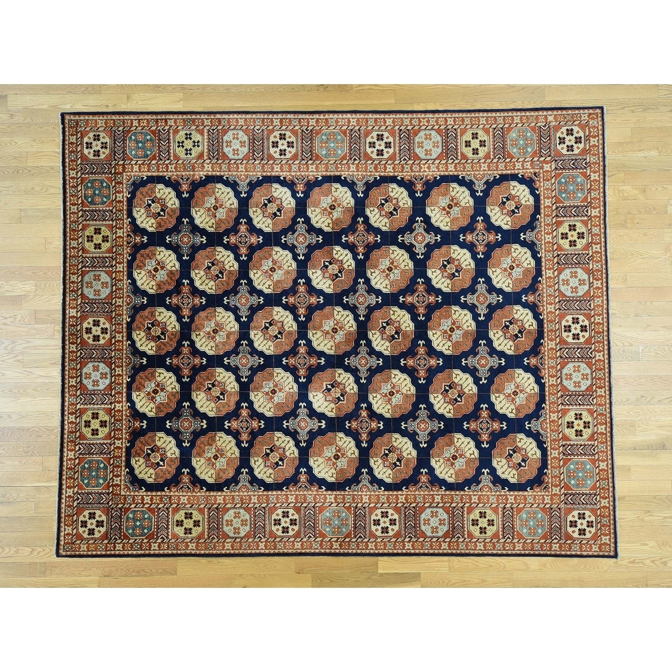 Hand Knotted Blue Tribal & Geometric with Wool Oriental Rug - 83 x 102